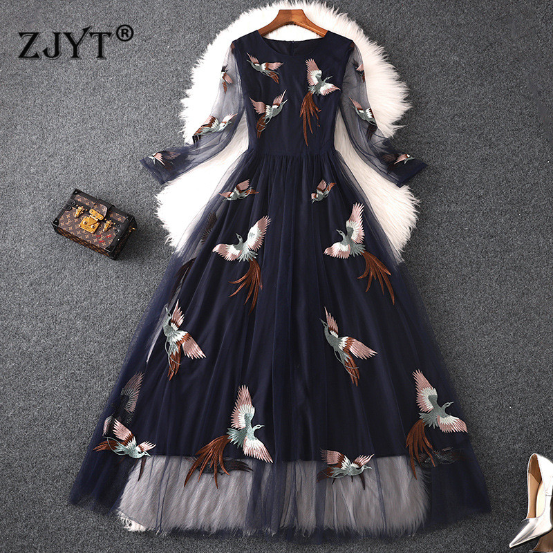 High Quality Designer Runway Maxi Dress Women 2019 Summer Elegant Birds Embroidery Tulle Maxi Party Dresses Sexy Casual Vestidos