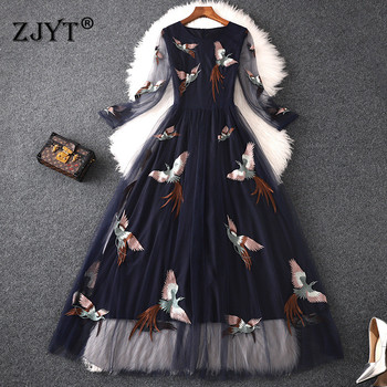 High Quality Designer Runway Maxi Dress Women 2019 Summer Elegant Birds Embroidery Tulle Party Dresses Sexy Casual Vestidos