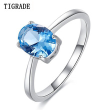 Tigrade Women 925 Starling Silver Rings Charm Jewelry Ring For Ladies With light blue Big Crystal anillos plata para mujer