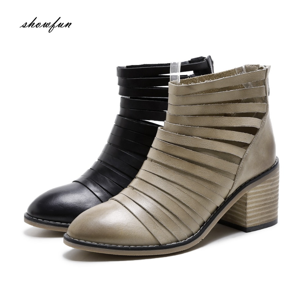 Womens Genuine Leather Gradient Toe Low Heel Comfortable Ankle Boots Brand Designer Cut-out Back Zip Short Booties Shoes Women
