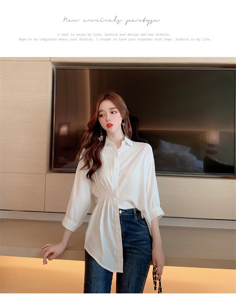 2019 Summer New Korean Version Of The Wild Long Paragraph 7 Points Sleeves Waist Loose Thin Temperament White Shirt Women (4)