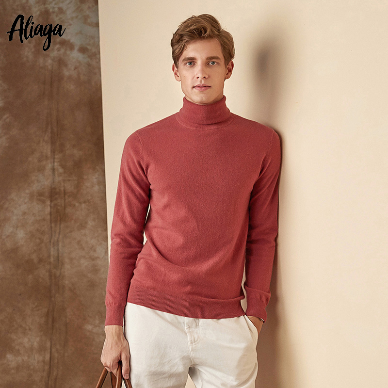 New 100% Pure Cashmere Turtleneck Sweater Men Casual Knitting Pullover Fashion Design Boutique Sweater Knitwear Tops Plus Size