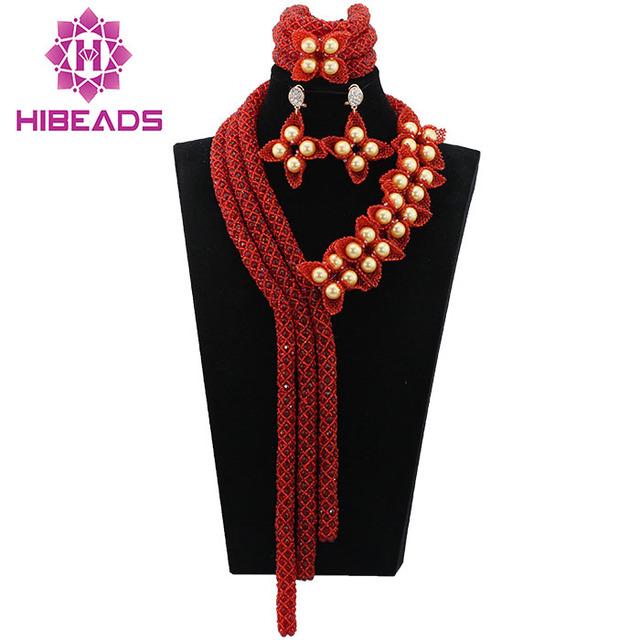 Vino Rojo de La Joyería de Traje Africana Set Moda Nigeriano Boda Perlas Africanas Joyería Conjunto Grande Collar Nupcial Envío Libre ALJ030