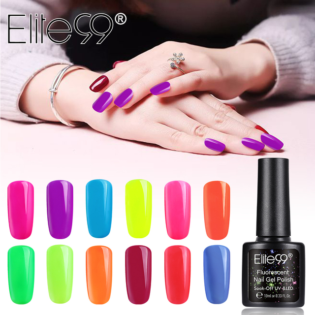 Elite99 Nail art Design Maniküre Fluoreszierende Gel Polish 10ML Tränken Weg Von Emaille Gel Polish UV Gel Nagellack Lack lack