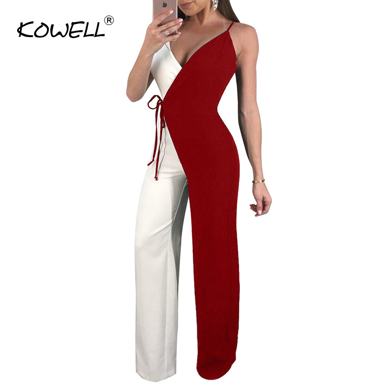 Hot Sale deep v neck sexy jumpsuit Women bodycon wide leg playsuit overalls summer streetwear female sleeveless jumpsuit romper Pants & Capris Women Bottom ! Plus Size Women's Clothing & Accessories