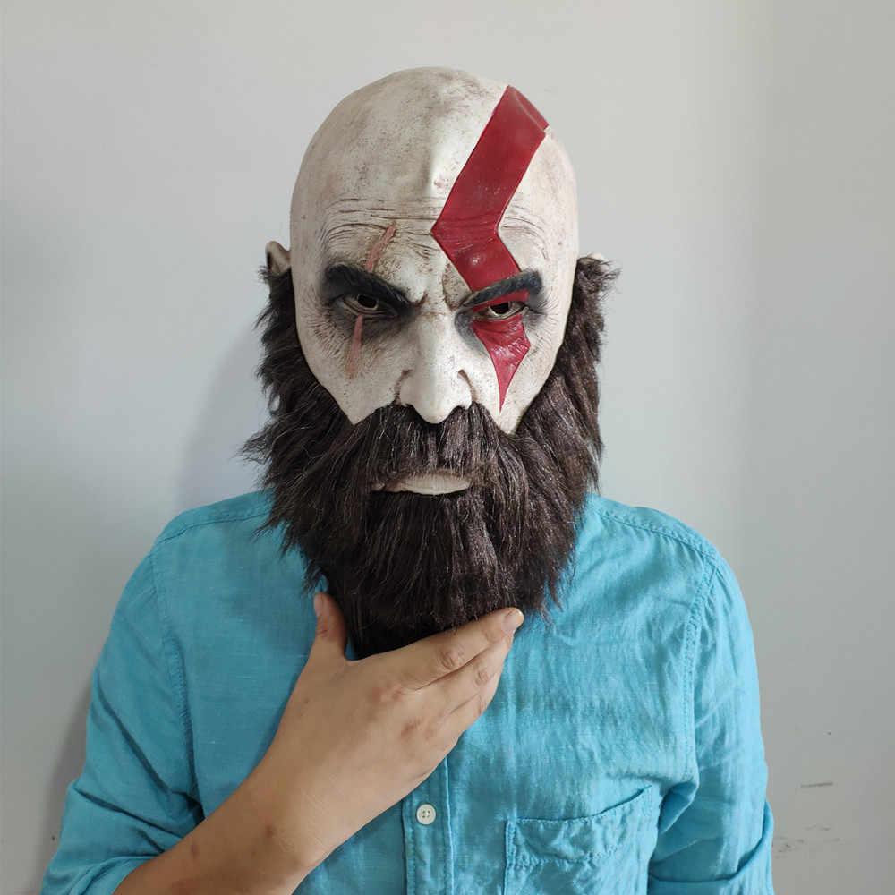 God Of War Mask Kratos Helmet Cosplay Latex Masks With Beard