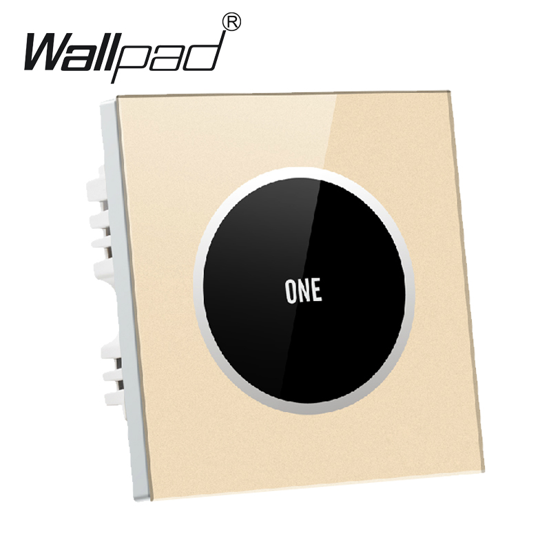1 gang 1 way Gold Glass Screen Touch Wall Light Switch Logo Button Design Free 110V~250V micro touch switch,Free Shipping 50pcs lot 6 6 4 3mm micro light touch switch on off touch button touch micro switch keys button 4pin free shipping