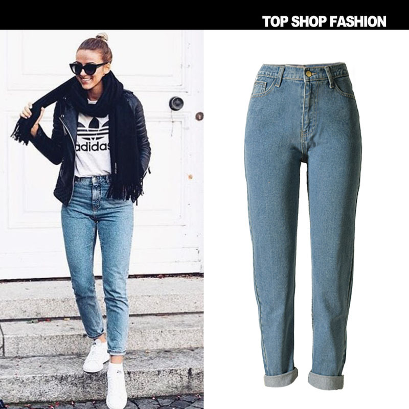 Jeans Woman Ms. Plus Size Jeans Autumn And Winter Fashion Popular New Models In Europe America Loose Waist Straight Trousers
