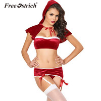 Free Ostrich 2017 Women Lingerie Christmas Sexy Underwear Bra Garter Panties Hat Bow Lace UP Drawstring