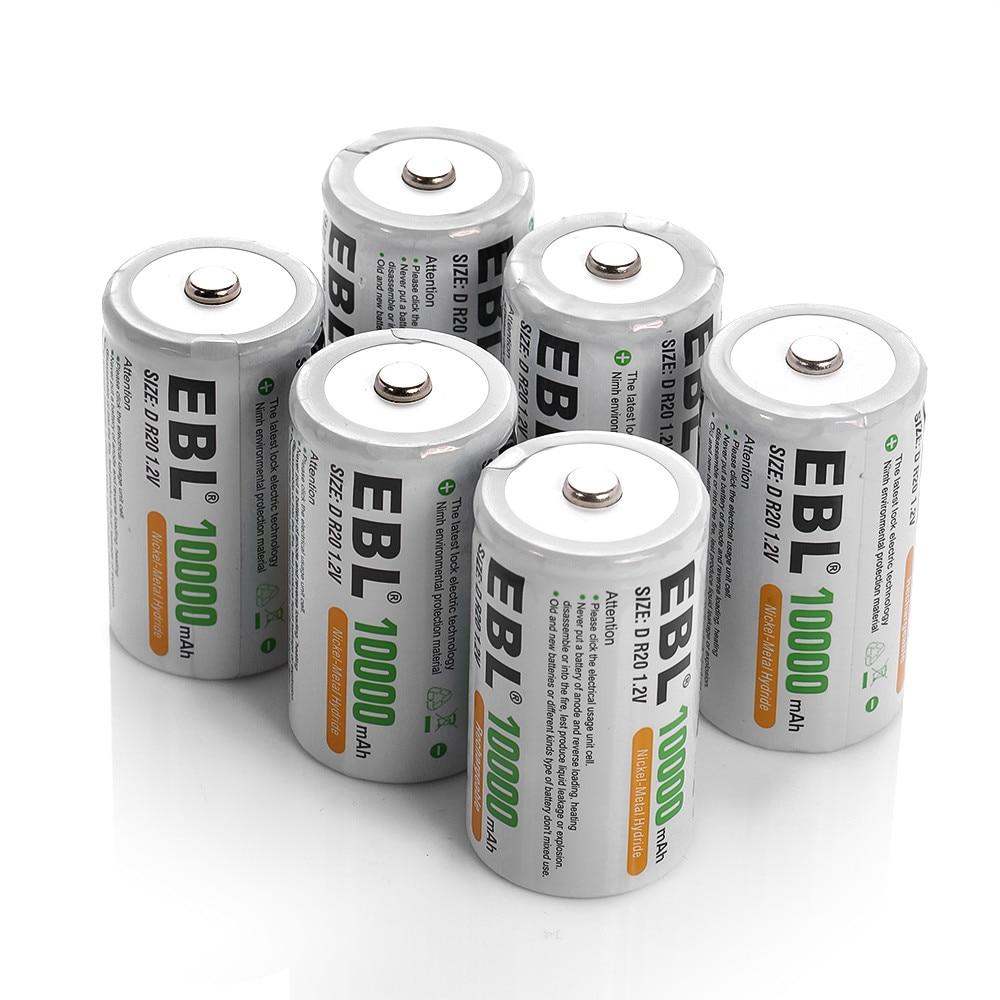 6 pcs/lot EBL 10000 mAh R20 taille D batterie Ni-Mh Batteries rechargeables pour lampes de poche jouets livraison gratuite