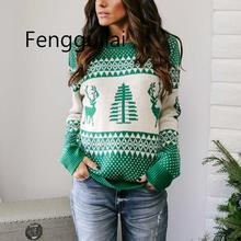 Autumn Elk Jacquard Knitted Christmas Sweater Women Pullover 2019 Winter Plus Size Women Sweaters And Pullovers Tops plus size christmas elk snowflake jacquard leggings