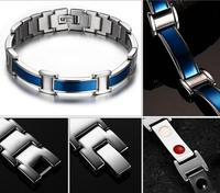 New Brand Design Fashion Health Energy Bracelet Bangle Men 316L Stainless Steel Bio Magnetic Bracelets