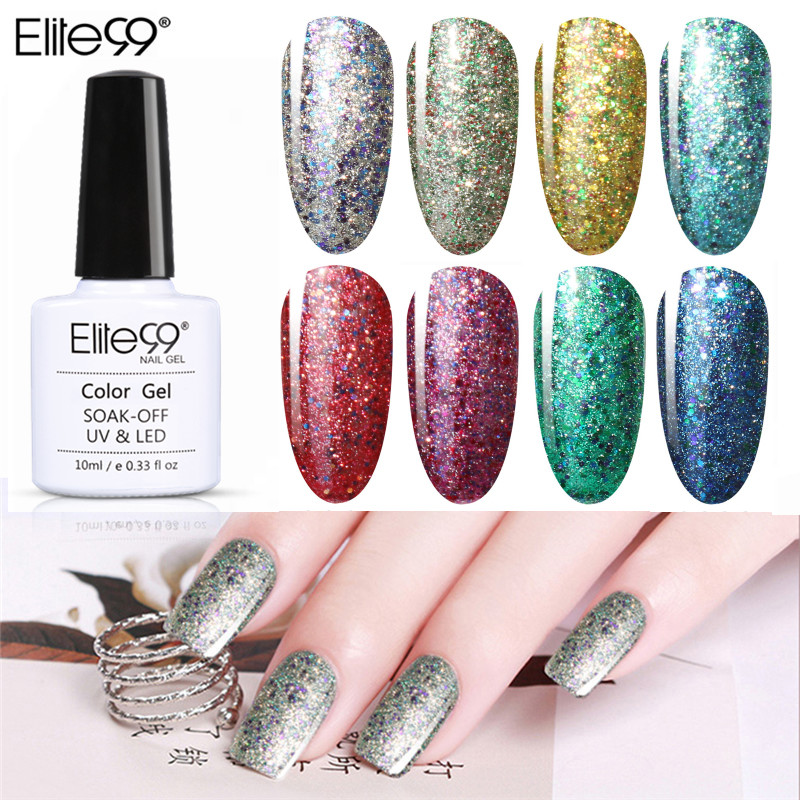 Elite99 Nail Art 10ml Diamond Shining Glitter Starry Platinum Paint Gel Manicure Soak Off Gel Polish LED UV Gel Nail Polish(China)