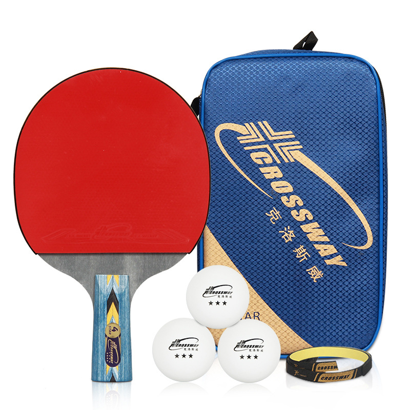 One Piece NEW 4-star Table Tennis Bat Racket Long Short Handle Ping Pong Paddle Racket Pimples With Bag Balls