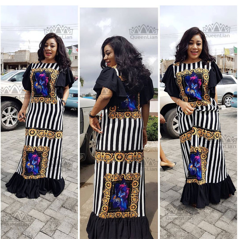 New Fashion Bazin Print Dashiki Yamadou Elastic Sleeve Loose Style Traditional African Dress For Women(CPTW02)