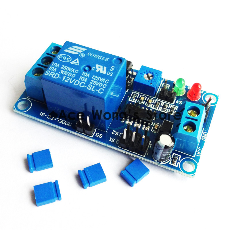 1pcs DC 12V delay timer relay with delay adjustment potentiometer turn on/off switch module