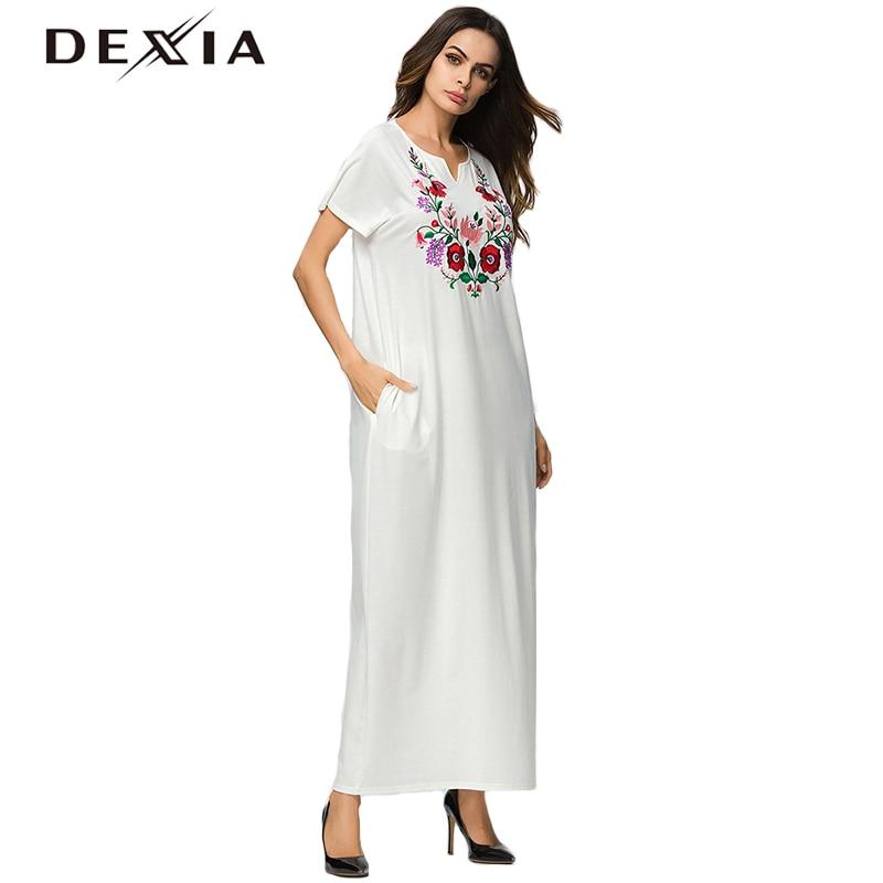 White Dresses Short Embroidery Dress Vestido Sleeve Loose Dexia Jurken Female Jurk Pictures 7156 Summer Flower Floral As 2018 Women qIPvP5xw