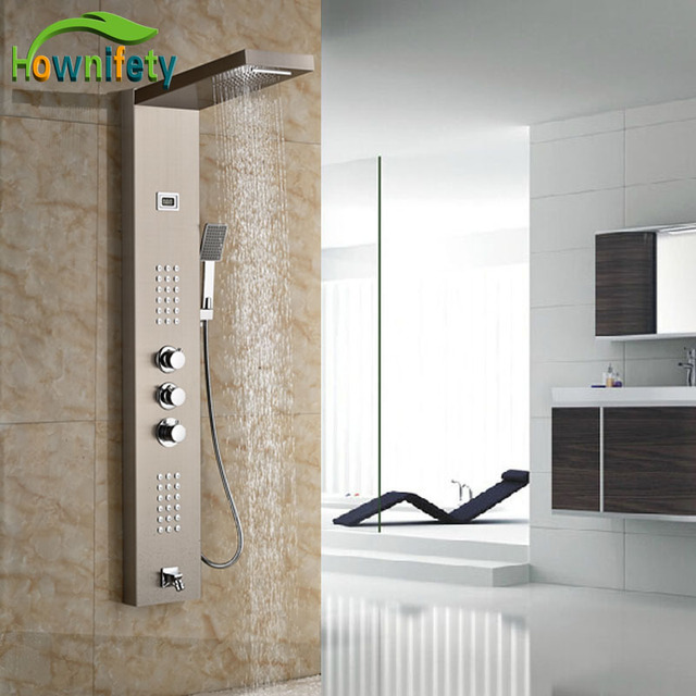 Luxury Brushed Nickle Shower Panel Exposed Bath Tub Shower Set With ...