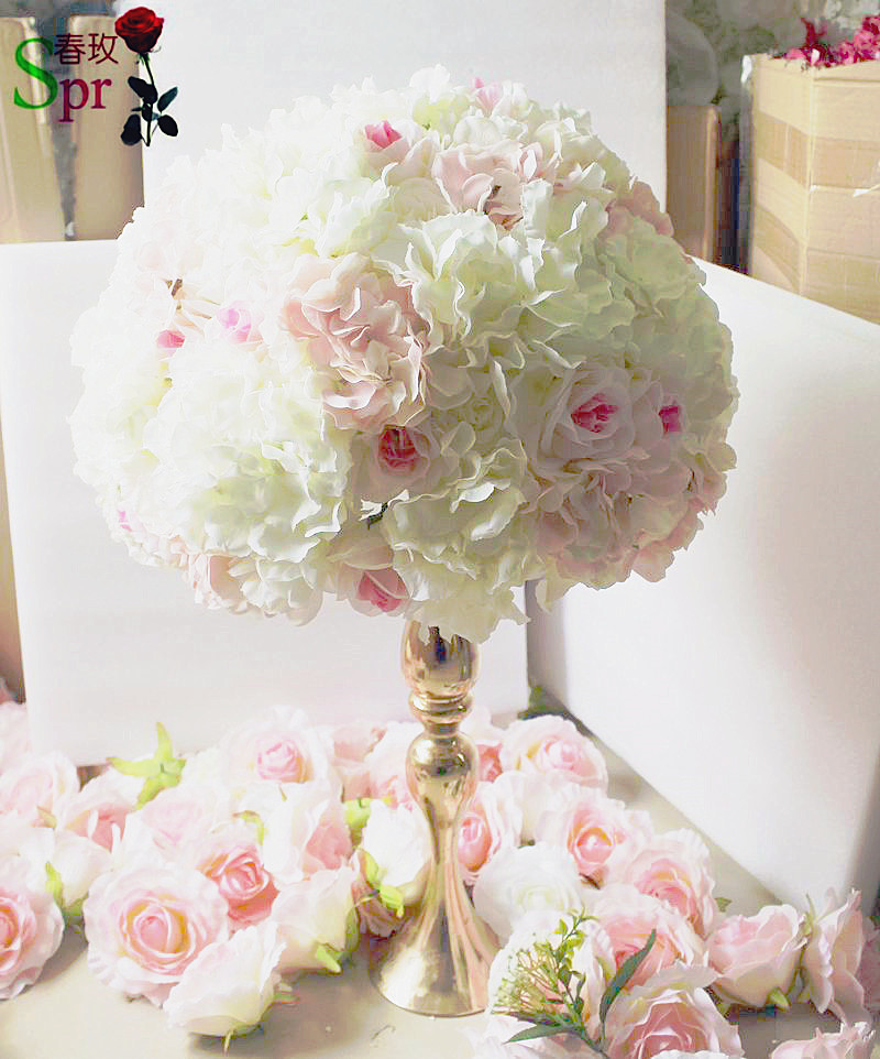 2017 small pink wedding table centerpiece flower ball for Artificial flower for wedding decoration