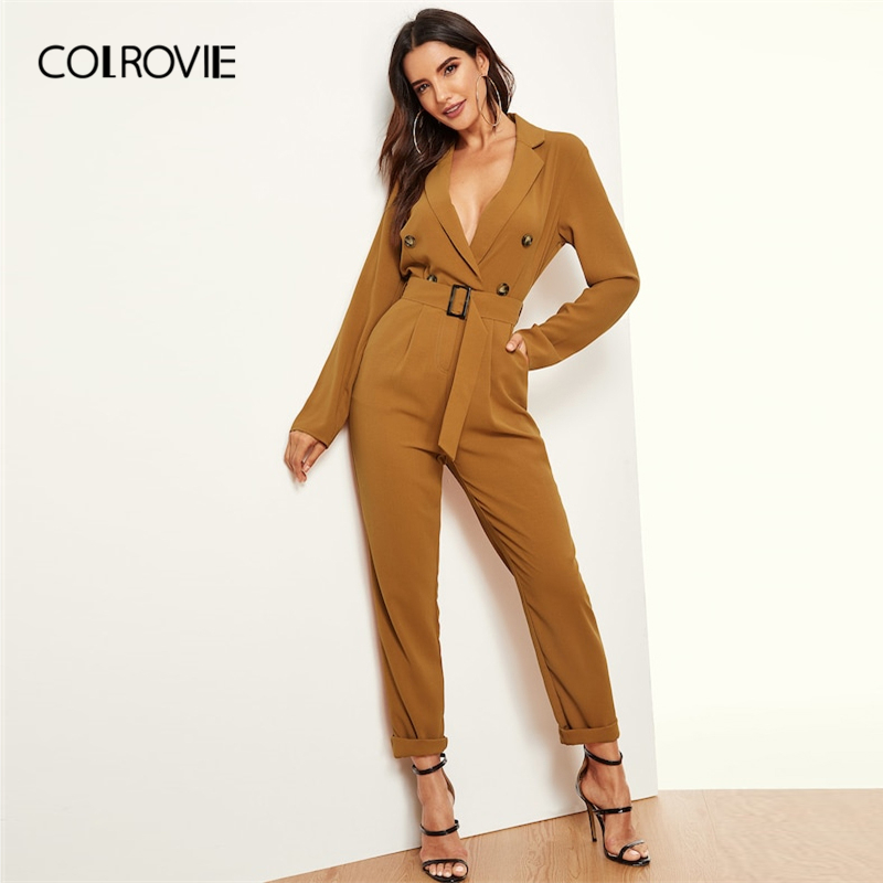 COLROVIE Ginger V-Neck Belted Wrap Double Button Workwear Jumpsuit Women 2019 Spring Long Sleeve High Waist Elegant Jumpsuits