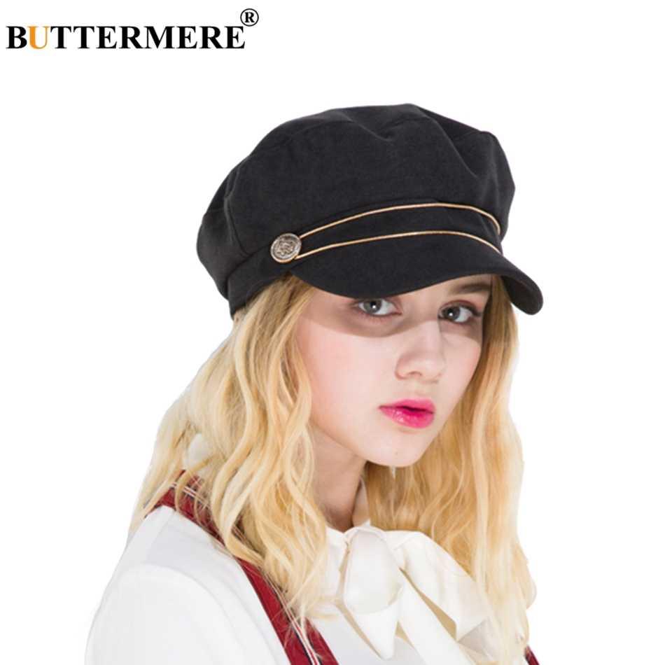 b2cd5f62 BUTTERMERE Black Newsboy Caps Women Cotton Octagonal Hat Ladies Elegant  Painter Hats Casual Female Summer Baker