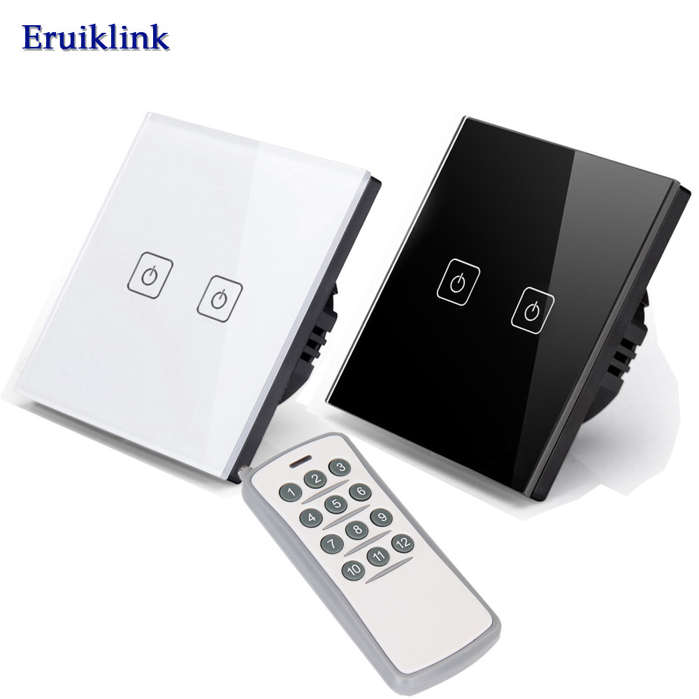EU/UK Standard Wireless Remote Control Switch touch,2 Gang 1 Way RF433 Wall Light Switch For Smart Home Compatible Broadlink Pro eu uk standard touch switch 3 gang 1 way crystal glass switch panel remote control wall light touch switch eu ac110v 250v