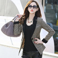 2016 Autumn Women Plaid Blazer Coat  Fashion Lace Collar Slim Suit Jacket Women Blaze Coffee Color