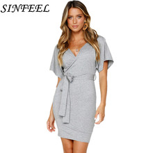 New Fashion Korean Style Women Summer Casual Short Sleeve Sexy V Neck Backless Bandage Bodycon Party Solid Mini Dress