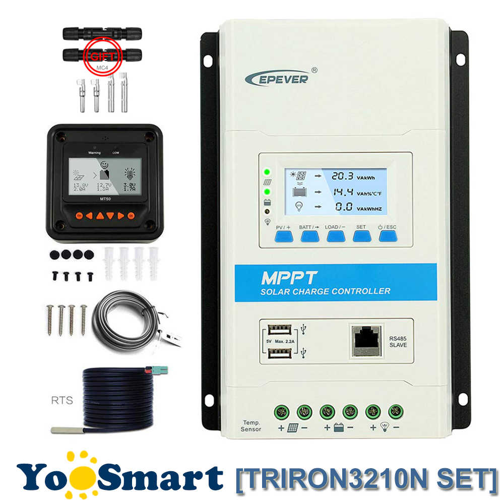 EPever TRIRON MPPT 30A Solar Controller 12/24VDC Auto Common Negative LCD Dual USB And MT50 TS-R WIFI Optional With Free MC4