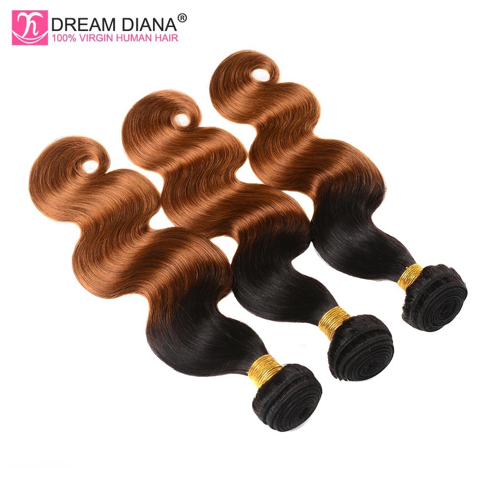 Dream Diana Thick Ombre Malaysian Body Wave Ombre 3 Bundles Two Tone 1B/30 Soft Malaysian Virgin Hai