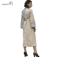 AEL Fashion Patchwork Polka Dot Long Trench Coat Women 2018 Autumn Spring Loose