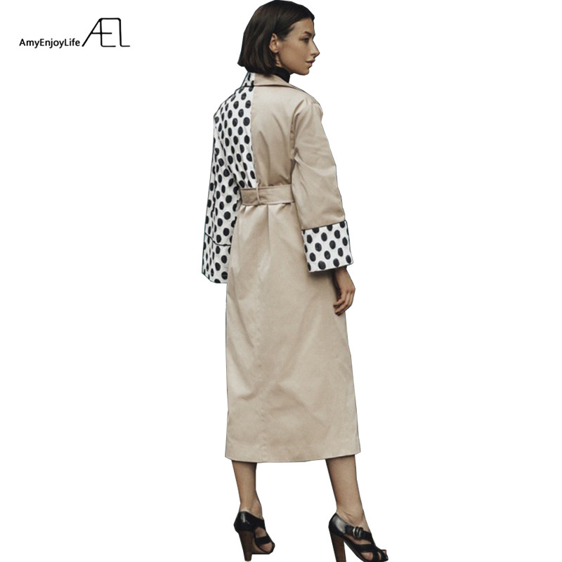 AEL moda Patchwork Polka Dot largo Gabardina abrigo Mujer 2018 otoño primavera abrigos sueltos con cinturón de cintura Gabardina Mujer-in Zanja from Ropa de mujer    1