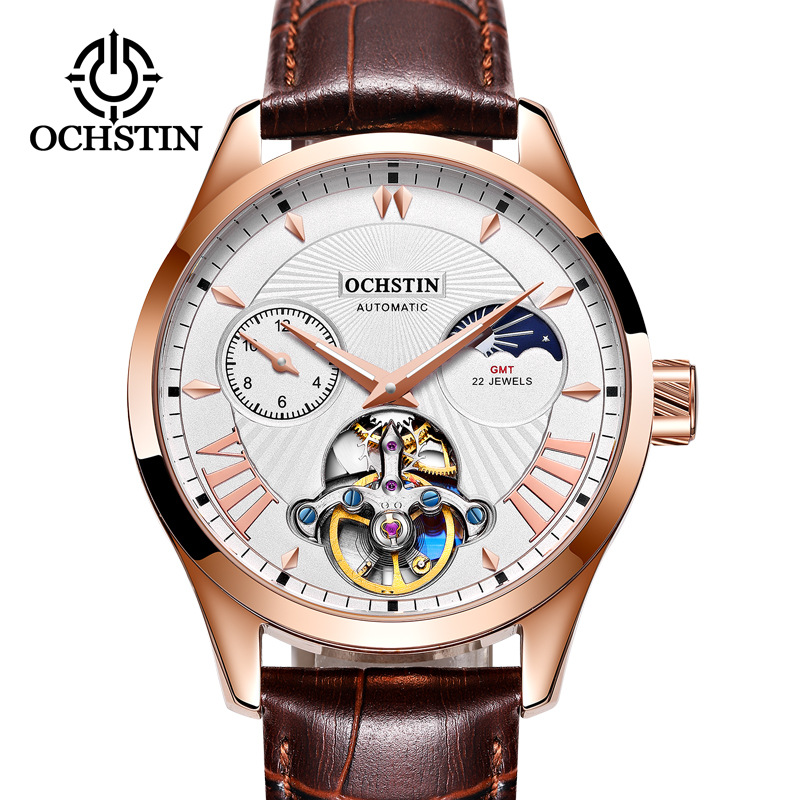 Automatic Mechanical Watch Men Business Hollow Tourbillon Moon Phase Steel Mechanical Watch Leather Atmospheric Waterproof Watch
