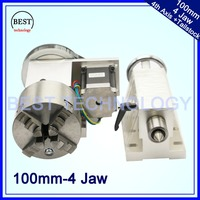 4 Jaw 100mm 4th Axis Tailstock CNC Dividing Head Rotation Axis A Axis Kit For Mini