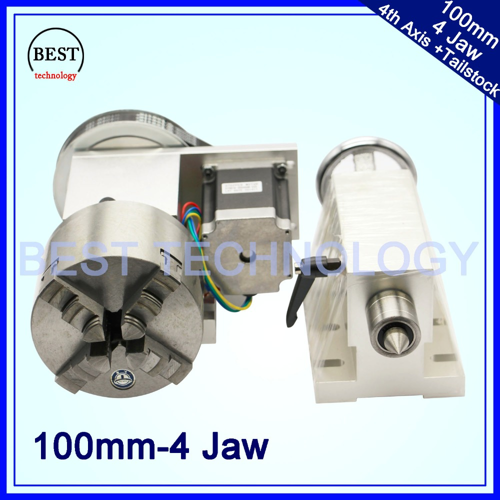 4 Jaw 100mm  4th Axis+Tailstock CNC dividing head Rotation Axis/ A axis kit  for Mini CNC router/engraver wood working engraving cnc 5 axis a aixs rotary axis three jaw chuck type for cnc router