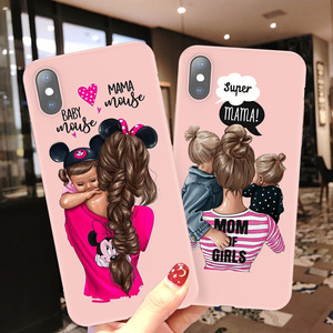 Moskado Silicone For iPhone 7 Phone Case Baby Mom Girl Women For iPhone 11 Pro X 6 6S 7 8 Plus XR XS Max 5 5s SE Soft Back Cover(China)