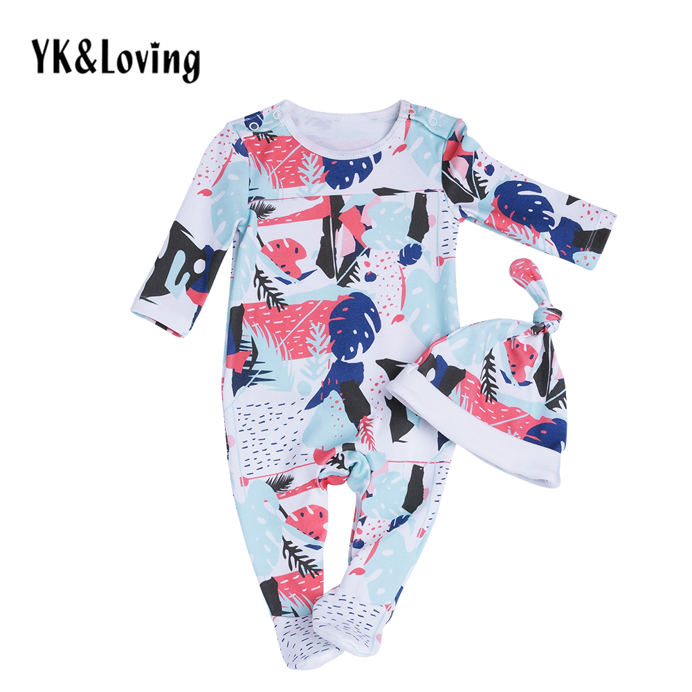 Winter Baby Boy Clothes Set Cotton Long Sleeve Romper + Hat 2 Piece Toddler Jumpsuit for 0-2 Years Print Newborn Boys Clothing newborn rompers baby boy romper winter long sleeve cotton clothing toddler baby clothes jumpsuit warm cartoon baby boys pajamas
