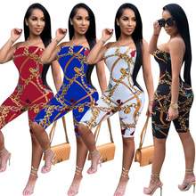 ФОТО  women one piece set strapless outfits jumpsuits sleeveless print bodycon knee pants rompers night club suit elastic strapless
