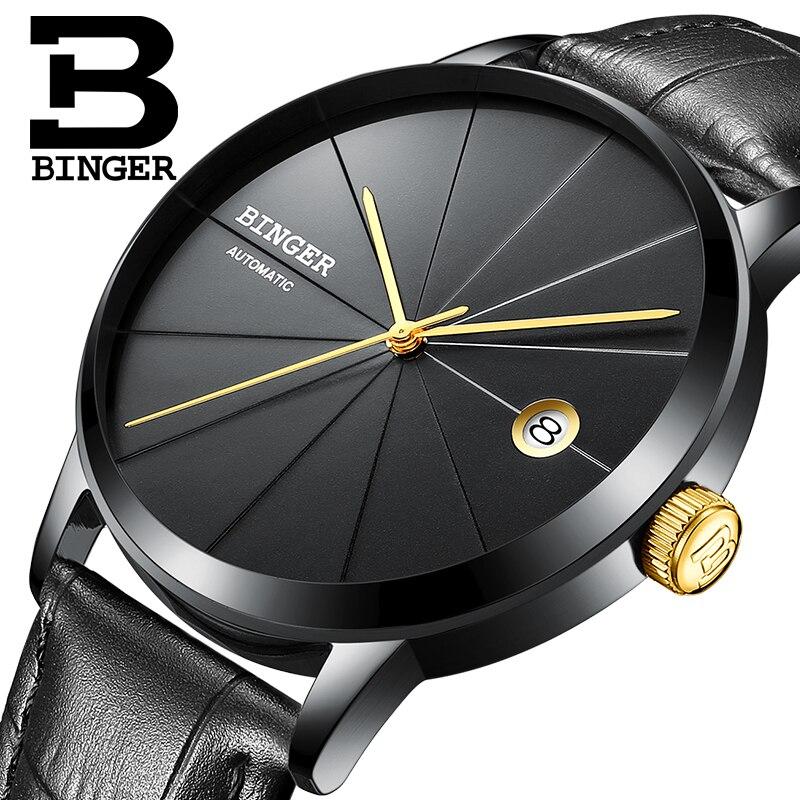 2019 BINGER montre hommes Sport étanche 50 M en acier inoxydable montre hommes en cuir mécanique automatique montre-bracelet nouvel an cadeau hommes