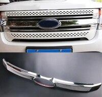 Fit For Ford Explorer ABS Chrome Front Grille Cover Trim Car Decoration 2011 2012 2013 2014 2015 1Pcs