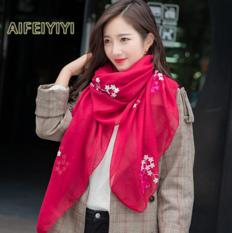 2018 Spring and Autumn New Korean Scarf Long Tourism National Wind Scarf Embroidery Flowers Cotton Scarf