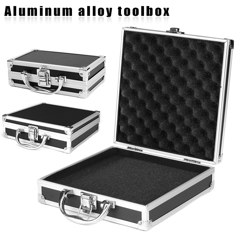Portable Aluminium Carry Case Tool Sponge Storage Box Organizer Travel Tool Holder Valuables Storage BoxWWO66