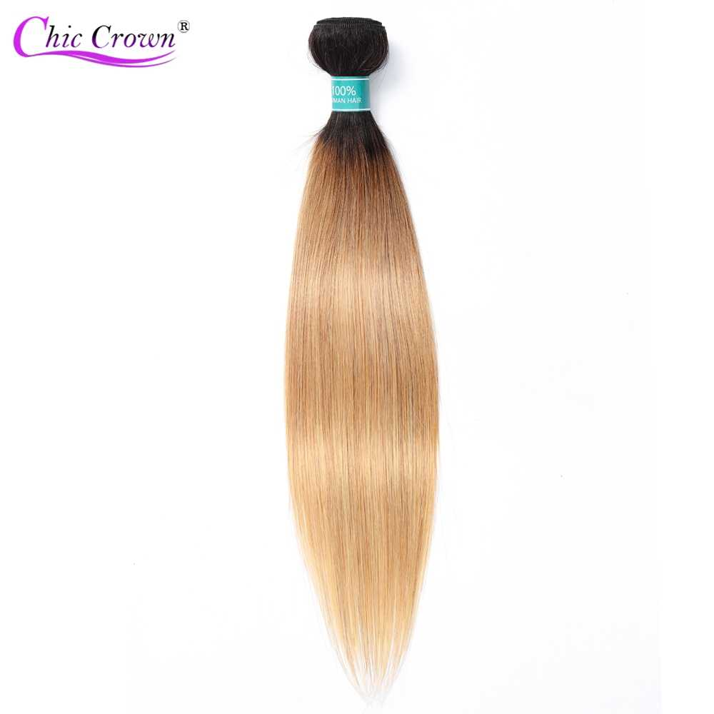 Ombre Brazilian Hair Weave Bundles Straight 2 Tone T1B/27 100 Human Hair Black to Blonde Human Hair Bundles Free Shipping