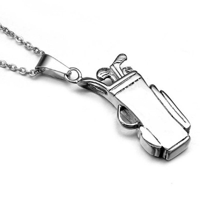 Golf bag pendant necklace stainless steel sports necklace golf bag pendant necklace stainless steel sports necklace bodybuilding gym necklace golf sports jewelry 23in aloadofball Image collections