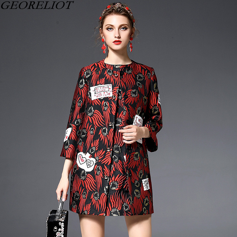 High Quality Trench Coat Women 2017 New Brand Fashion Winter Coat Flame Letter Embroidery Runway Long Coats Abrigos Mujer