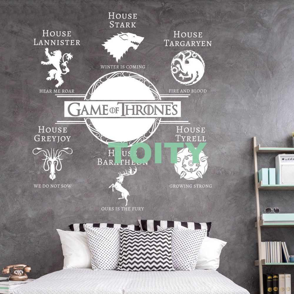 Game Of Thrones Wall Sticker House Sigils Motto S Vinyl Decal Winter Is Coming Home Bedroom Dorm Decor Removable Mural Wall Stickers Aliexpress