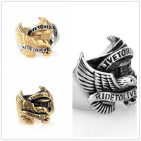 3pcs Lot Live To Ride Ride To Live Hawk Eagle 316L Stainless Steel Motor Biker Men