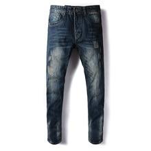 Dsel бренд мужские джинсы ретро-дизайн классические джинсовые байкерские джинсы мужские полной длины итальянский стиль Slim Fit нуля рваные джинсы брюки