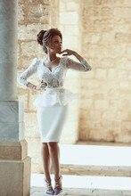 Überraschendes Weiß Kurze Cocktailkleider mit 3/4 Ärmeln Schöne Knielangen Spitze Partei-kleid Sheer Design Formale Kleid Heißer Verkauf