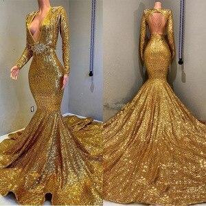 Женское вечернее платье с глубоким v-образным вырезом, Золотое Платье-Русалка с длинным рукавом и открытой спиной, вечерние платья с блестка...
